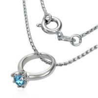 Kette - Silber - Ring - Kristall - Blau