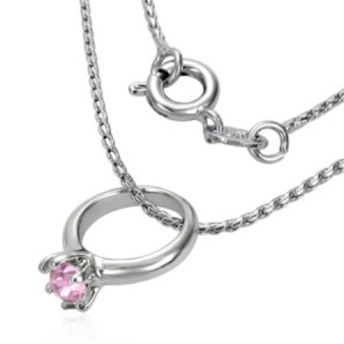 Kette - Silber - Ring - Kristall - Pink