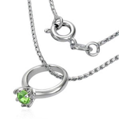Kette - Silber - Ring - Kristall - Grün