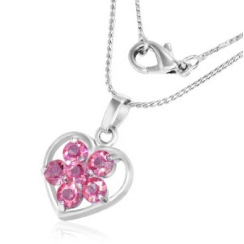Kette - Silber - Herz - Kristall - Blume