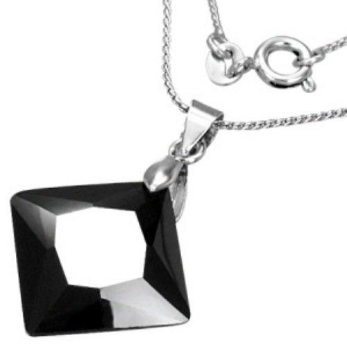 Kette - Silber - Kristall - Schwarz - Schliff