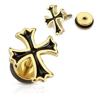Fake Plug - Kreuz - Gold