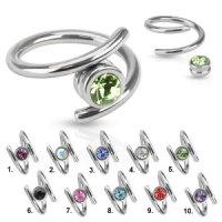Spirale Piercing - Silber - Kristall