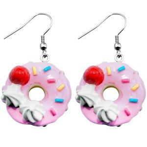 Ohrringe - Hänger - Erdbeer-Donut