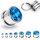 Kristall Plug - Stahlfassung - GEWINDE - Blau