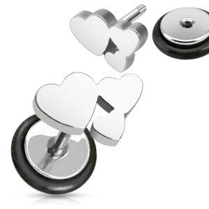 Fake Plug - Herzen - Silber
