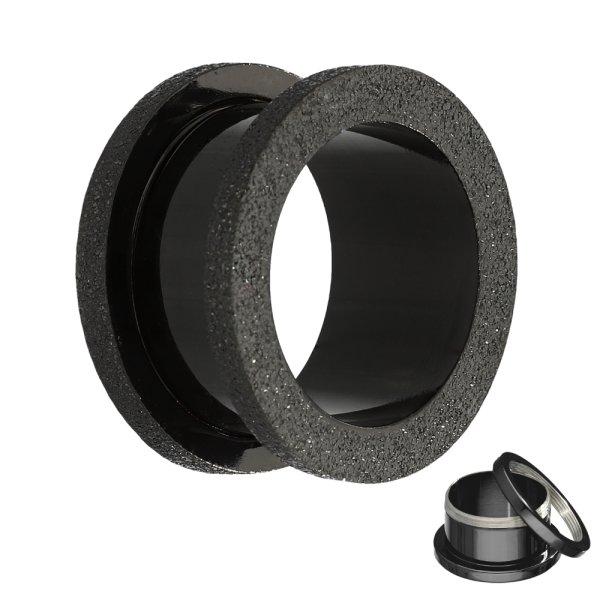 Flesh Tunnel - Stahl - Schwarz - Diamant