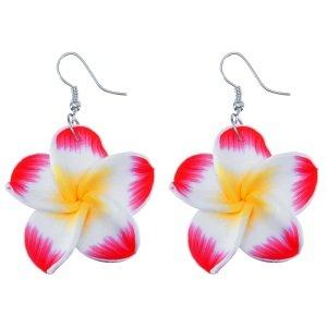 Ohrringe - Hänger - Blume - Rot