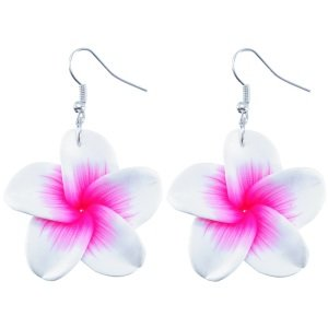 Ohrringe - Hänger - Blume - Weiß-Pink