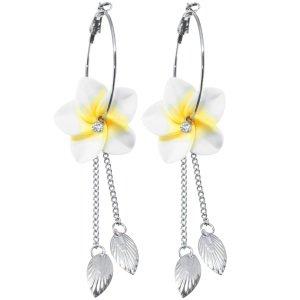 Ohrringe - Creolen - Blume - Gelb