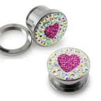 Kristall Plug - Stahl - Herz - Pink
