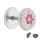Fake Plug - Silber - Kristall - Blume - Pink