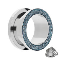 Flesh Tunnel - Stahl - Silber - Diamant - Blau