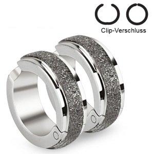 Edelstahl Creolen Ohrringe - Silber - Diamant