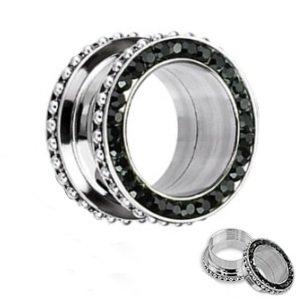 Flesh Tunnel - Stahl - Silber - Kristalle - Kugeln