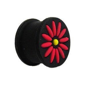 Silikon Plug - Schwarz - Blume - Rot