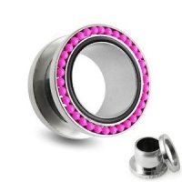 Flesh Tunnel - Silber - Kugel - Pink