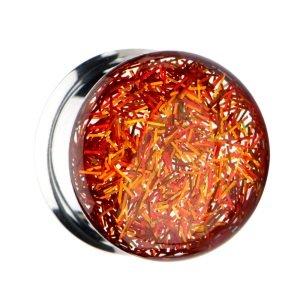 Ohr Plug - Double Flare - Glitzer - Gold - Orange