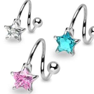 Spirale Piercing - Silber - Kristall- Stern