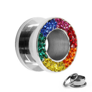 Flesh Tunnel - Silber - Kristalle - Bunt