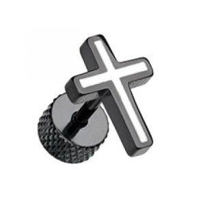 Fake Plug - Schwarz - Kreuz - Weiß
