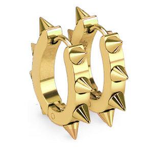 Edelstahl Creolen Ohrringe - Spitze - Gold
