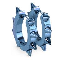 Edelstahl Creolen Ohrringe - Spitze - Blau