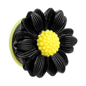 Ohr Plug - Kunststoff - Gänseblümchen - Schwarz