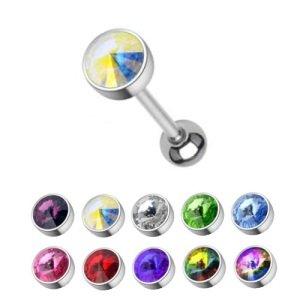 Piercing Stab - Stahl - Silber - Kristall - Gross
