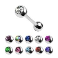 Piercing Stab - Stahl - Silber - Kristall