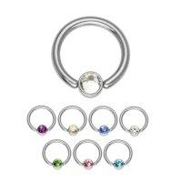 Piercing Klemmring - Silber - Kristall - 1.2mm