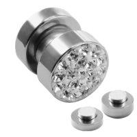 Magnet Fake Plug - Stahl - Silber - Kristalle