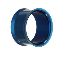 Double Flare Flesh Tunnel - Stahl - Blau