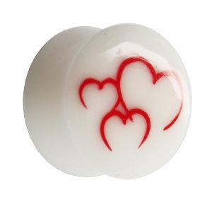 Ohr Plug - Knochen - Herzen - Rot