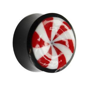 Ohr Plug - Horn - Candy - Rot-Weiß