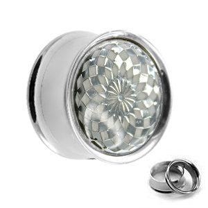 Ohr Plug - Stahl - Karos - Silber