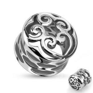 Flesh Tunnel - Stahl - Silber - Ornament - Herz