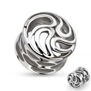Flesh Tunnel - Stahl - Silber - Ornament