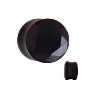 Glas Kristall Plug - schwarz
