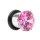 Pink Kristall Plug - Stahlfassung - flared